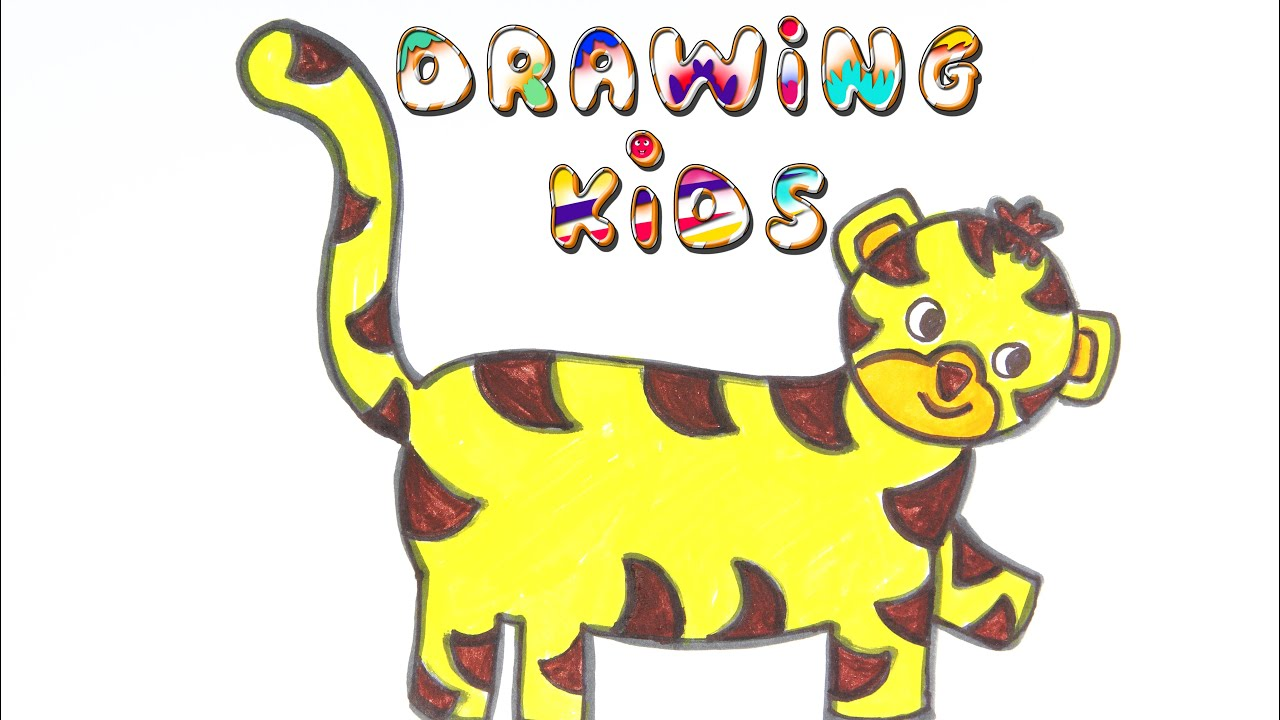 Baby Tiger Drawing and Coloring for Kids   How to draw a ...