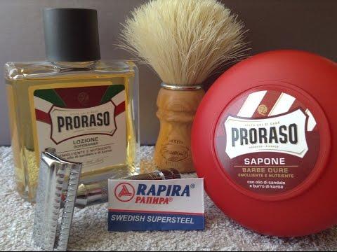 Merkur Slant,Proraso Sandalwood Soap & Splash