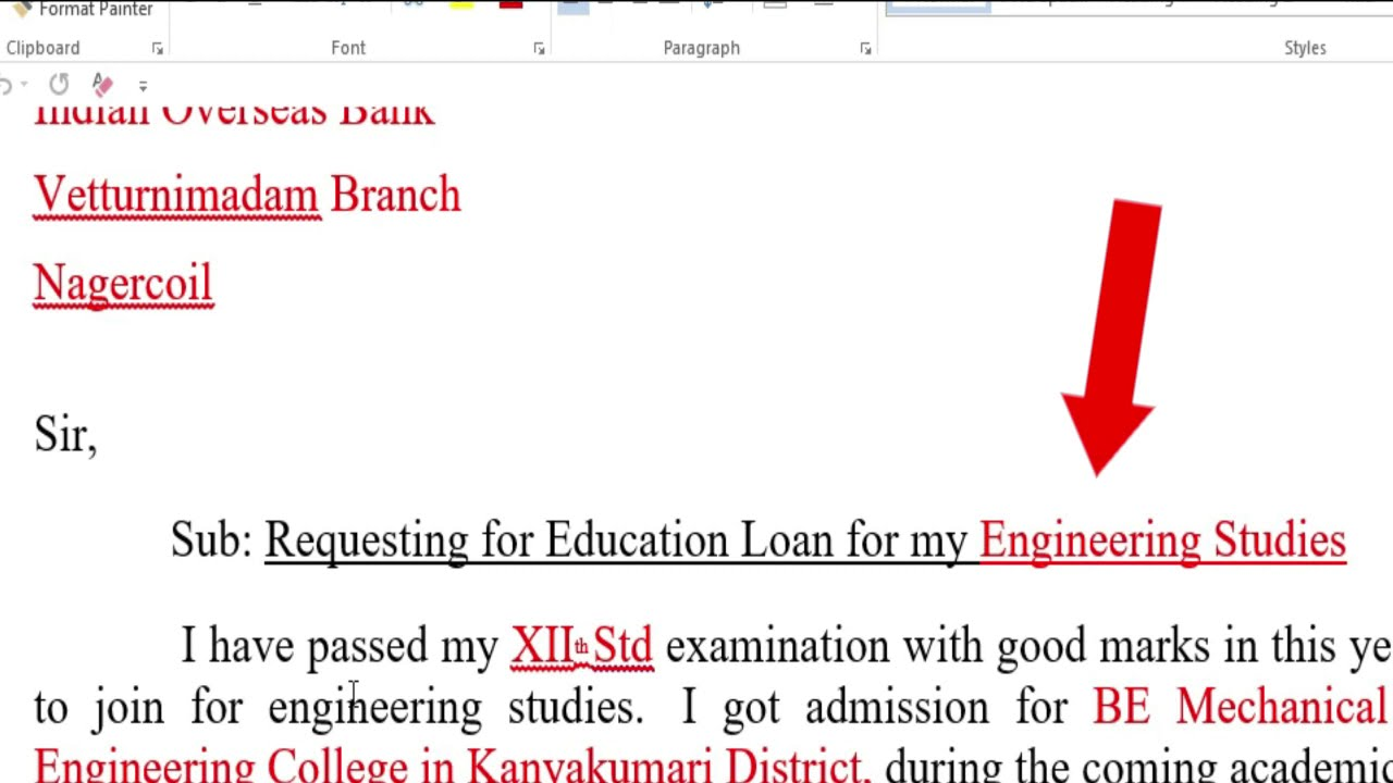 How to write a letter to the bank manager for educational loan