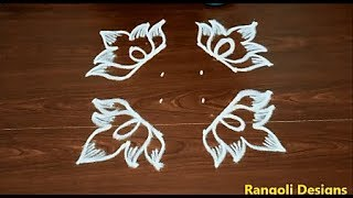 latest beginners rangoli designs * 4X4 dots poo kolam * flower muggulu designs