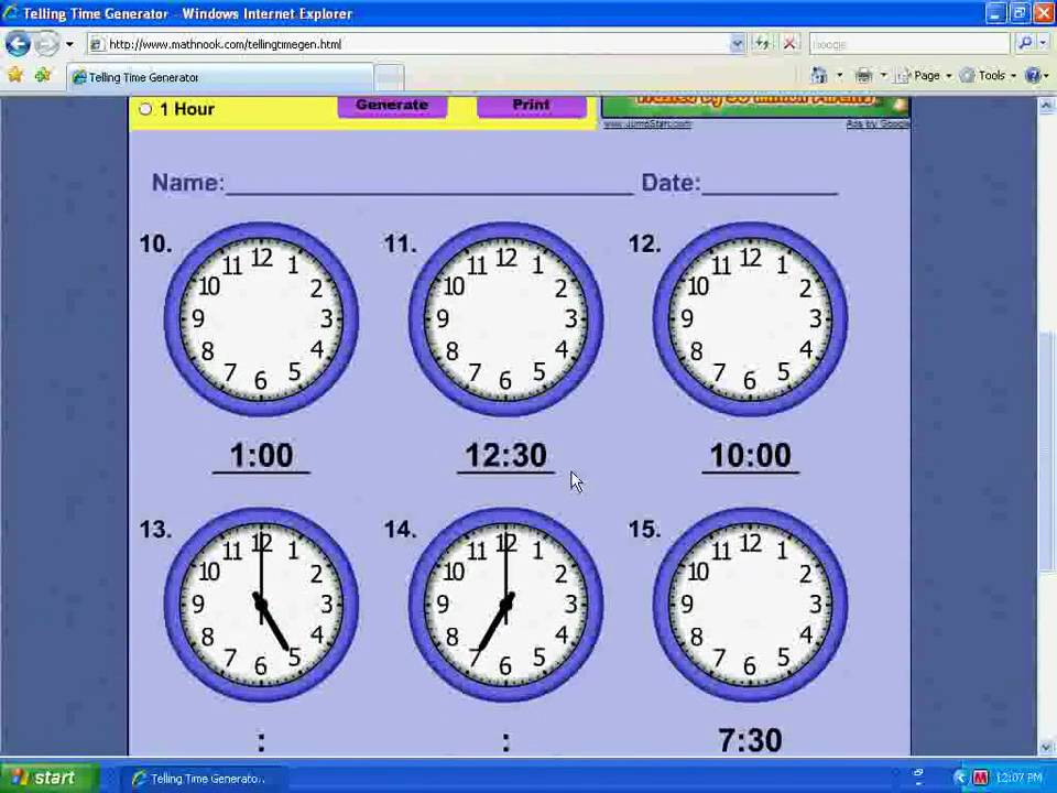 Telling Time Worksheet Generator Demo - YouTube