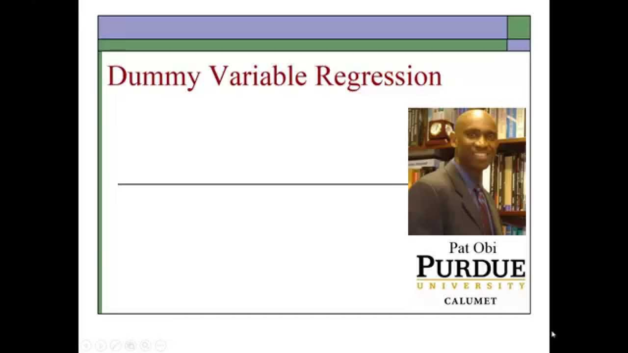 multiple regression analysis using dummy variable In this section, a regression model with only dummy variables will be shown to be equivalent to an analysis of variance (anova) model this could be extended to control for the influence of one or more continuous explanatory variables such as years of experience, x i , as used in the preceding sections.