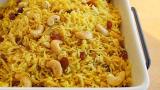 Cashew & Raisin Rice Pilaf Recipe | How to make Rice Pilaf | Vegan Rice Recipe