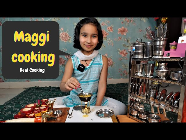 Real Maggie Cooking By Pari / PART-24 / miniature kitchen set | #LearnWithPari #Aadyansh
