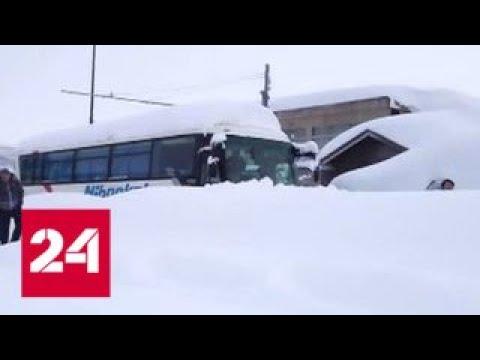 Японию засыпает снегом: люди задыхаются в машинах - Россия 24