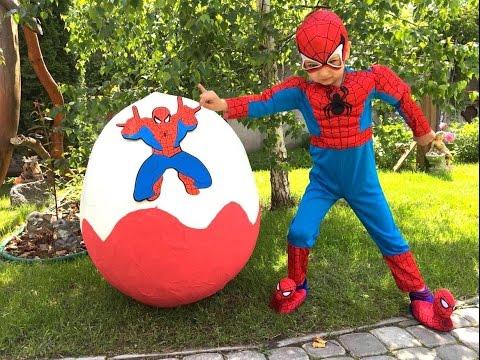 СУПЕР Spiderman Спайдермен  Человек Паук Большои Киндер от Super Artem Giant Egg Spiderman