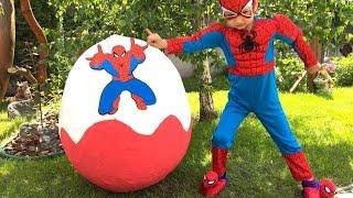 СУПЕР!!! Spiderman Спайдермен Людина Павук Великий Кіндер від Super Artem Giant Egg Spiderman