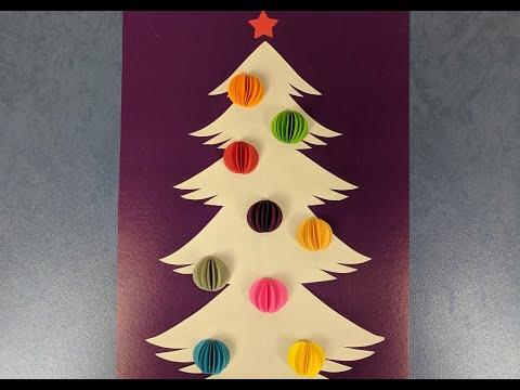 Новогодняя открытка своими руками из бумаги. Красивая новогодняя елка. Christmas tree from paper.