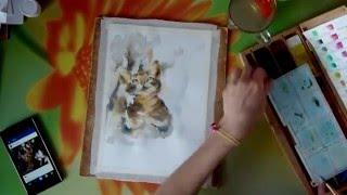 Картина акварелью. Кот.
