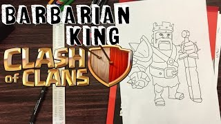 How to draw Barbarian King from Clash of Clans