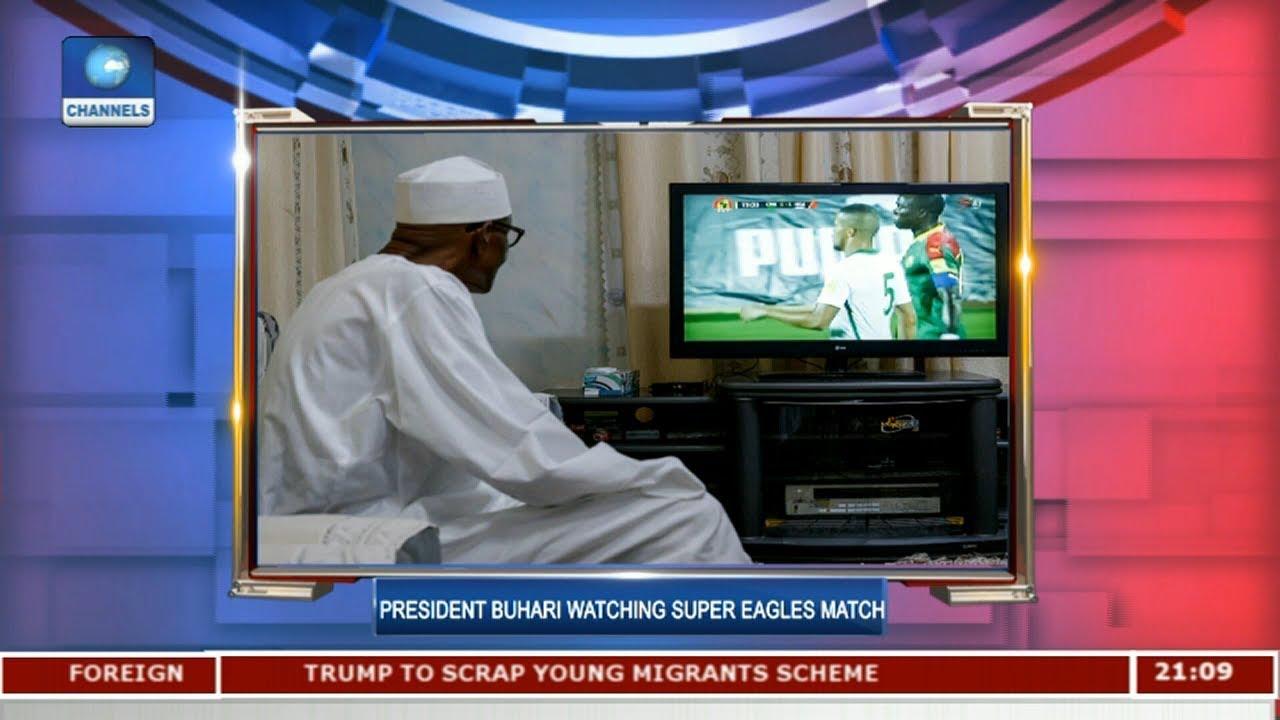 President Buhari Watching Super Eagles Match |Sports tonight|