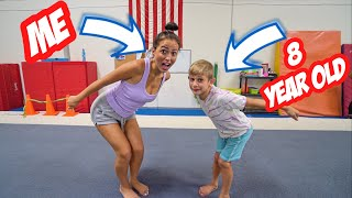 8 YEAR OLD TEACHES ME MY FIRST FLIP...*bad idea*