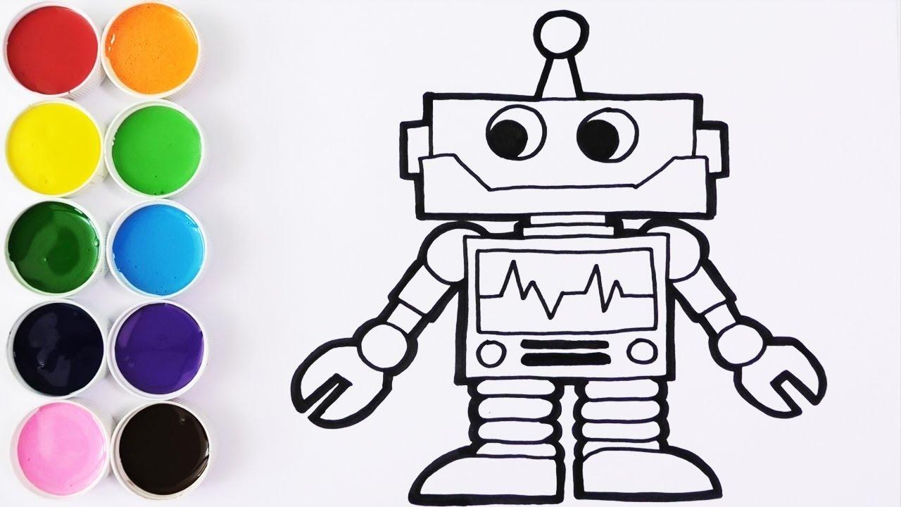 Como Dibujar Y Colorear Un Robot De Arco Iris Dibujos Para Niños