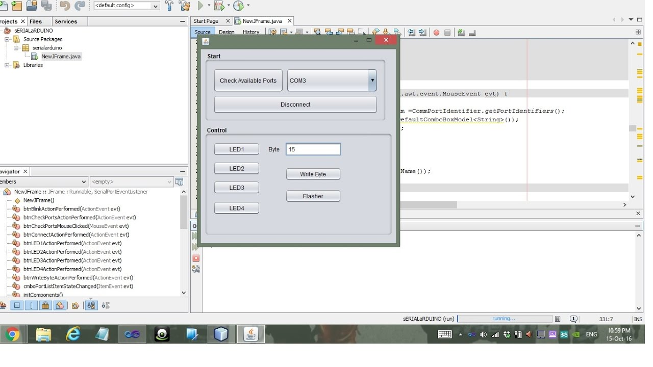 Java GUI For Simple Arduino Circuit using Serial Port