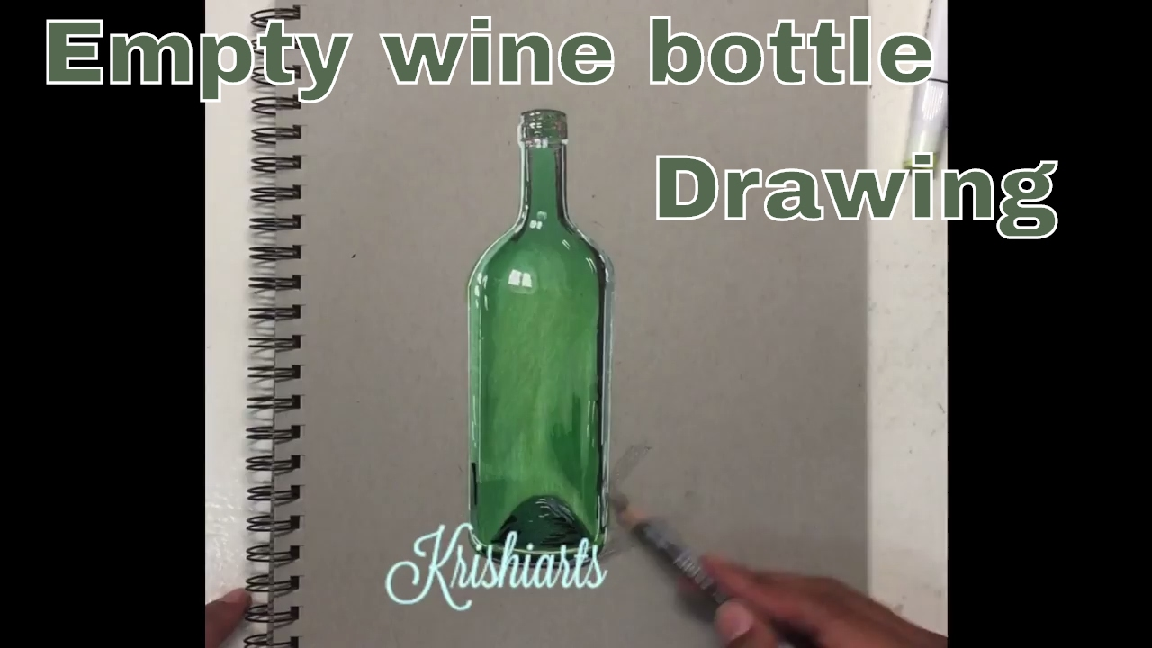 Drawing Realistic Empty Wine Bottle Youtube