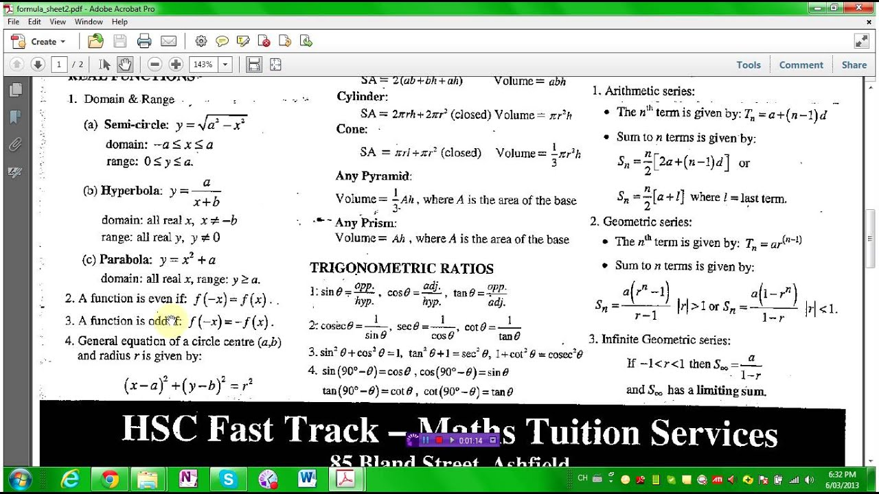 Formulas Sheet For 2 Unit Maths