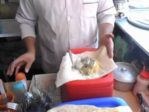 Local Potato and Egg Pitta Wrap   Tabriz   Iran   December 2013