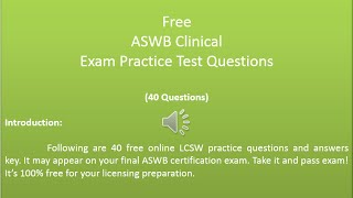 Free ASWB Clinical Exam Practice Test Questions