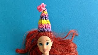 Rainbow Loom Barbie Doll 3D Wearable Party birthday Hat // How to make with loom bands