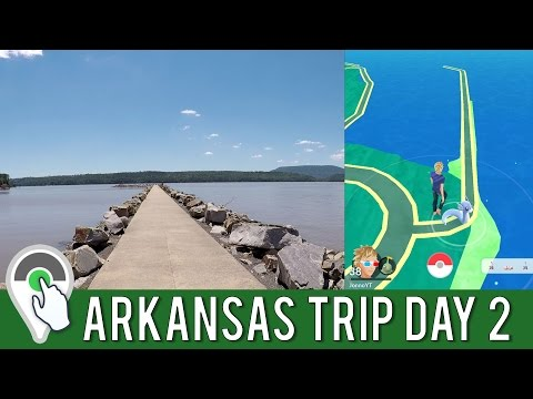 ARKANSAS TRIP DAY 2! Pokemon GO Daily Adventure at Lake Dardanelle in Russellville, AR!