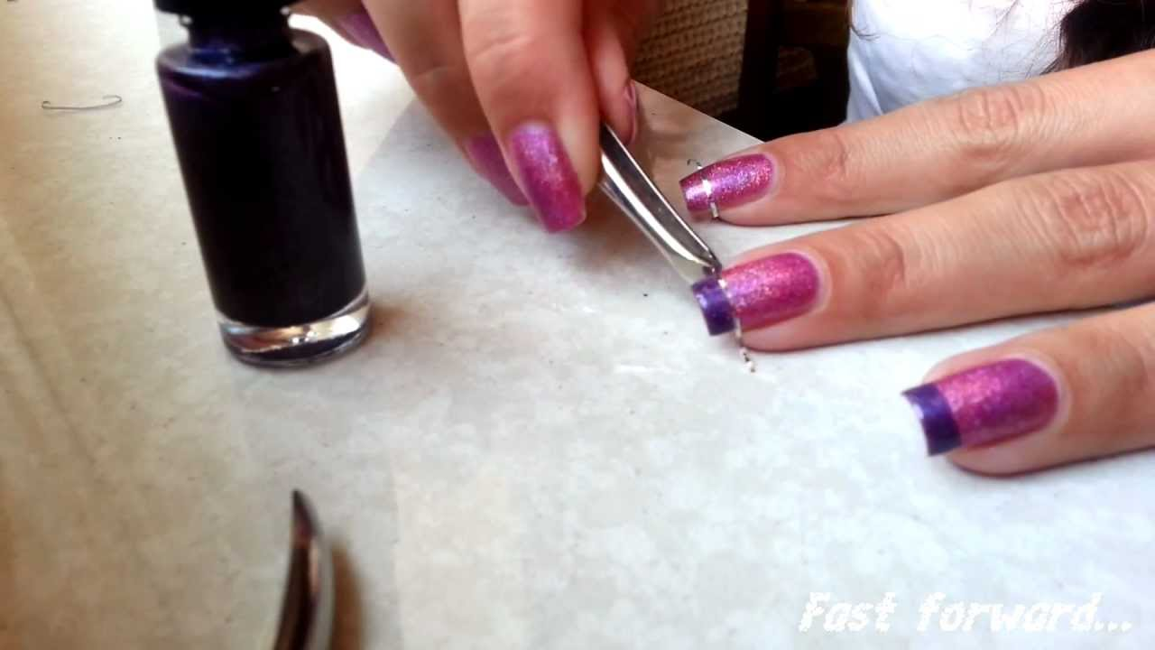 Easy Funky French Manicure with Striping Tape - YouTube