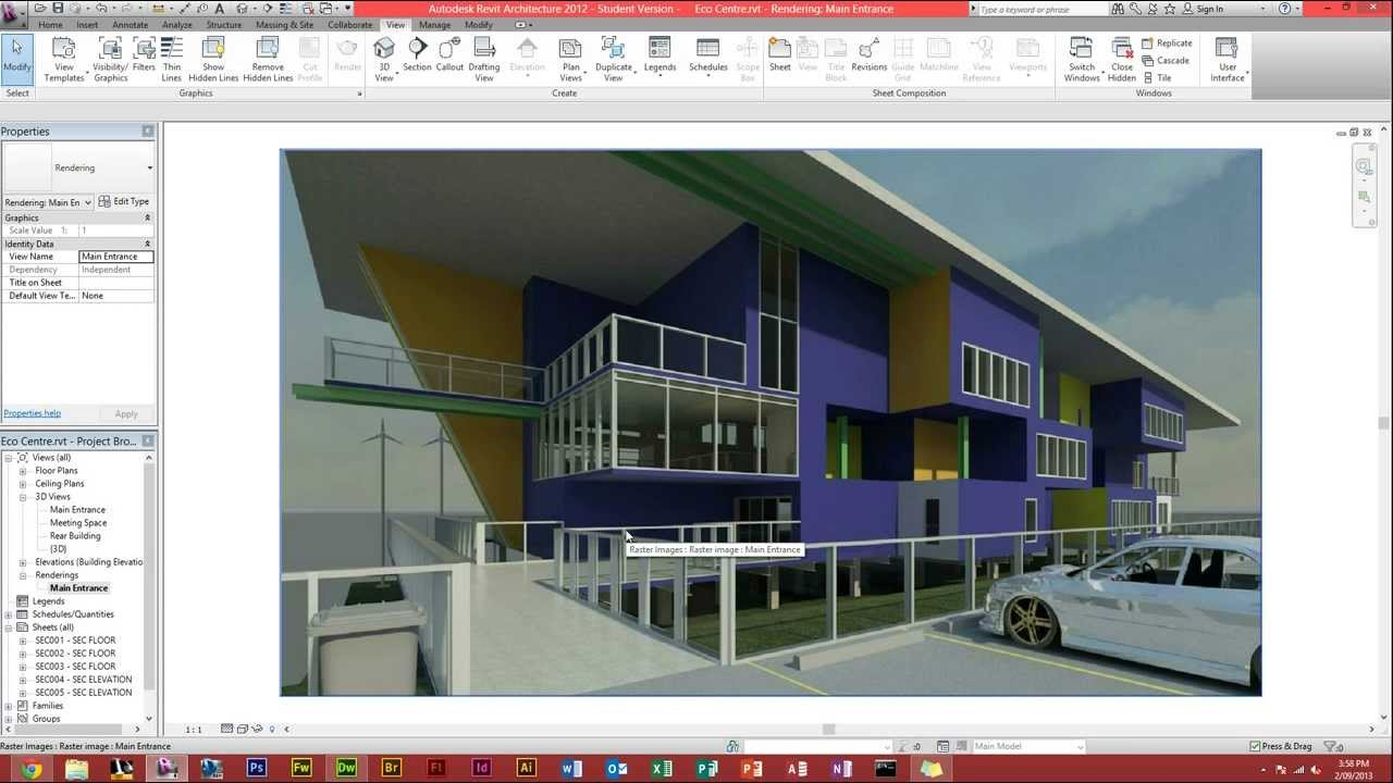 autodesk revit architecture how to make a render youtube. Black Bedroom Furniture Sets. Home Design Ideas