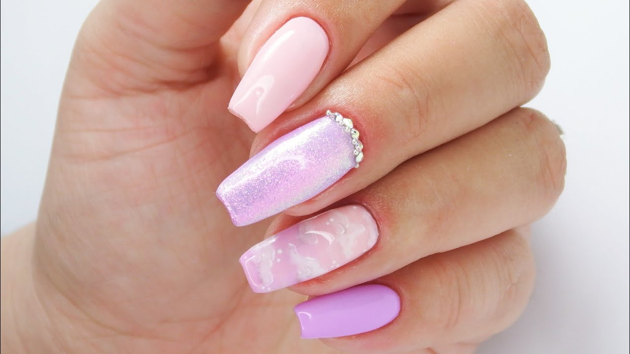 Pastel clouds nails art tutorial