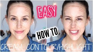 How To: Natural Looking Cream Contour and Highlight Tutorial - Drugstore Products