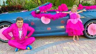 Nastya hóa trang thành Công chúa thực sự và đi dự tiệc với bố cô ấy