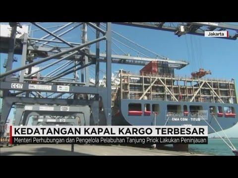 Kapal Kargo Terbesar Tiba di Pelabuhan Tanjung Priok