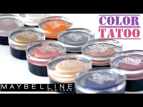 Maybelline Color Tattoo 10 colors Swatches - YouTube