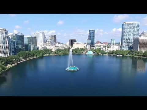 Lake Eola, Orlando FL drone view