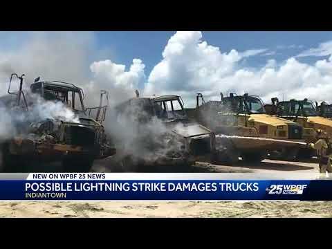 Possible Lightning Strike Destroys Construction Equipment