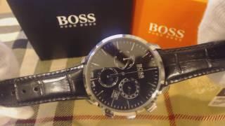 Men's Hugo Boss Swiss Made Black Italian Leather Chronograph Watch 1513266