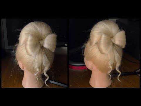 Прическа с бантом из волос. Бабетта