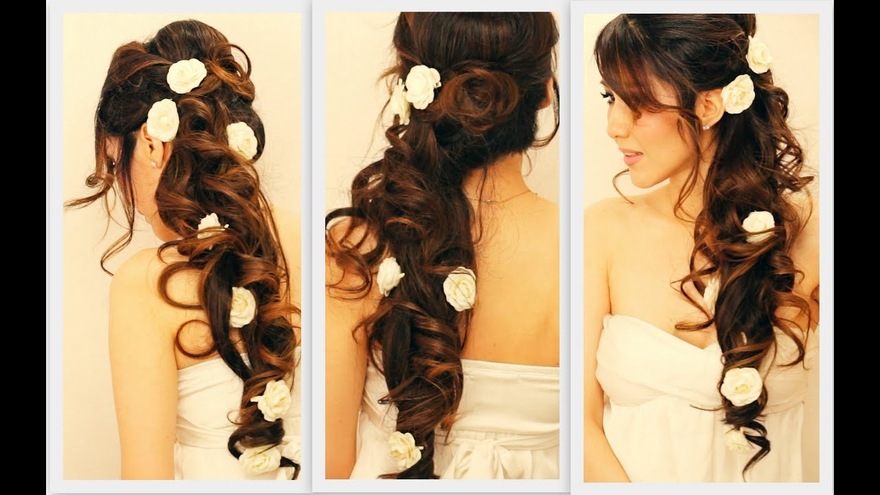 ★ elegant side-swept curls wedding prom hairstyles tutorial | curly bridal updo for long hair
