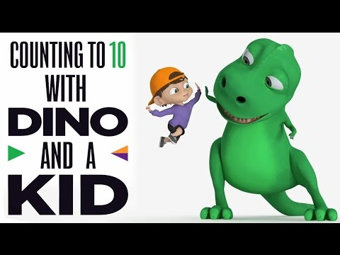Dinosaur and A Kid Teaching Counting 1 to 10 - Learning Numbers Video for Kids