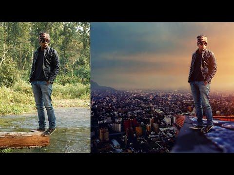 Photoshop Manipulation Tutorials Photo Effects | Boy on building roof