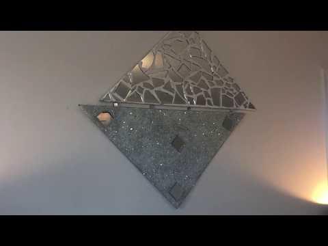 D I Y CRUSH GLASS AND MOSAIC MIRROR WALL ART || DIY MIRRORED WALL ART