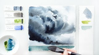 Stormy Sky. Watercolor tutorial.