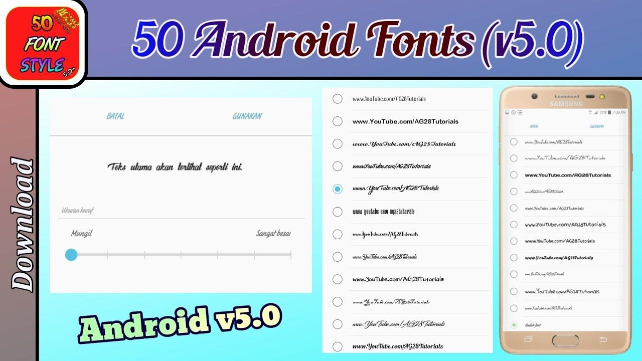 50 Android Fonts (Pengubah Gaya Tulisan di Android v5 0 ke bawah) - Download
