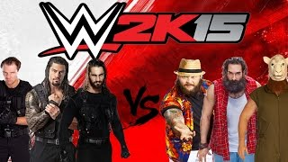 WWE 2K15 OFFICIAL GAMEPLAY ON XBOX 360 (THE SHIELD VS THE WYATT FAMILY)