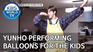 Yunho performing balloons for the kids [Trio's Childcare Challenge/ENG/2019.09.18]