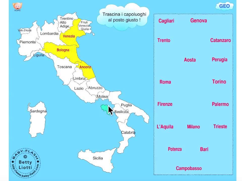 Cartina Politica Italia Capoluoghi.Geografia2 I Capoluoghi Italiani Youtube