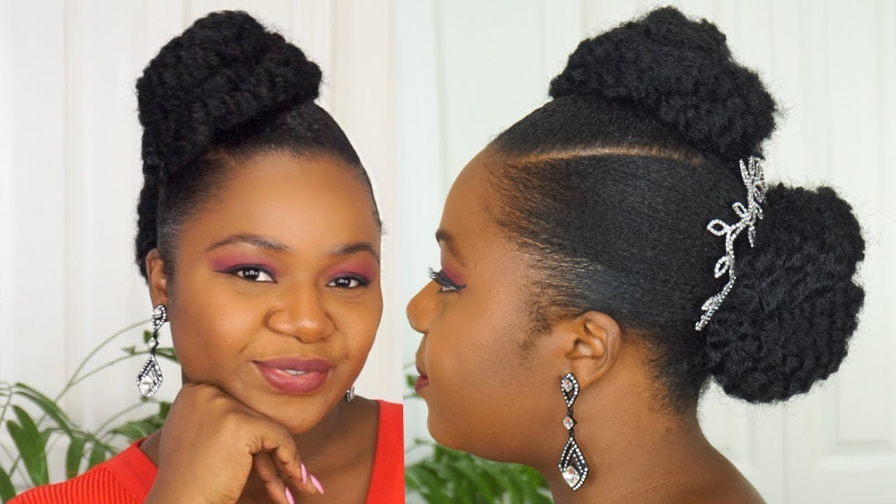 Easy Twisted Updo For Short Hair Short Natural Hair Youtube