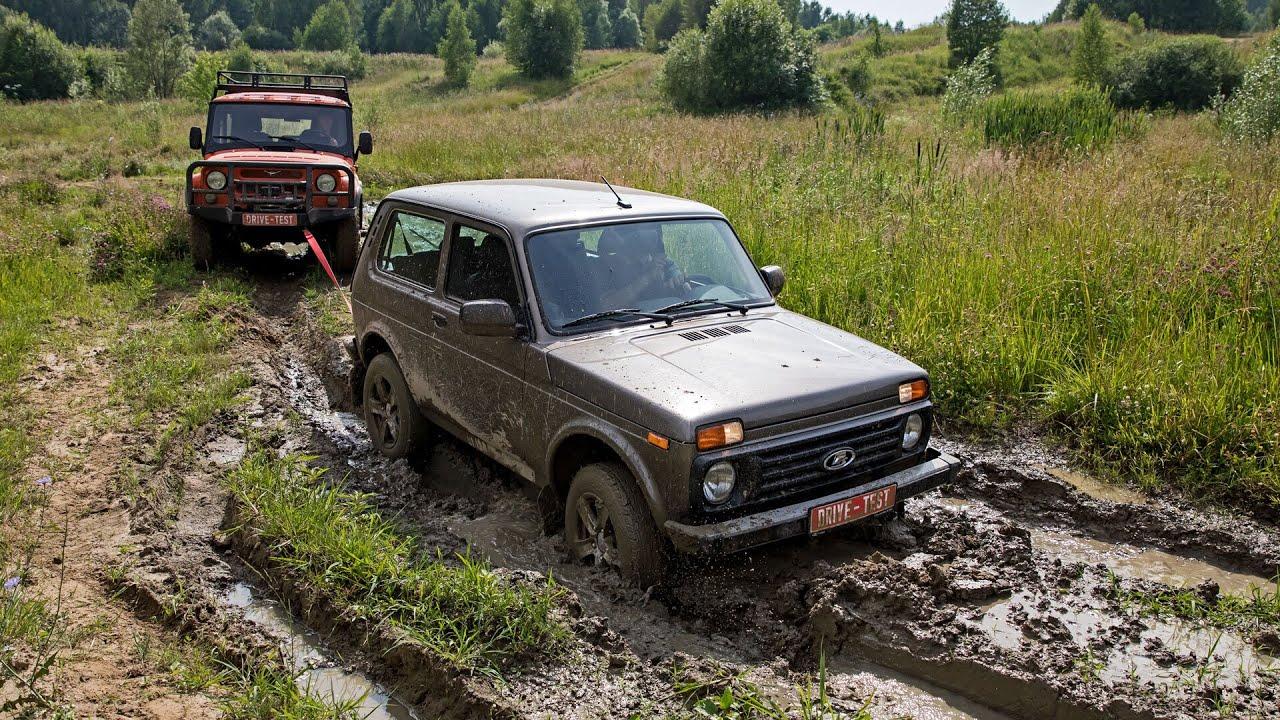 Lada 4x4 и УАЗ Хантер на бездорожье