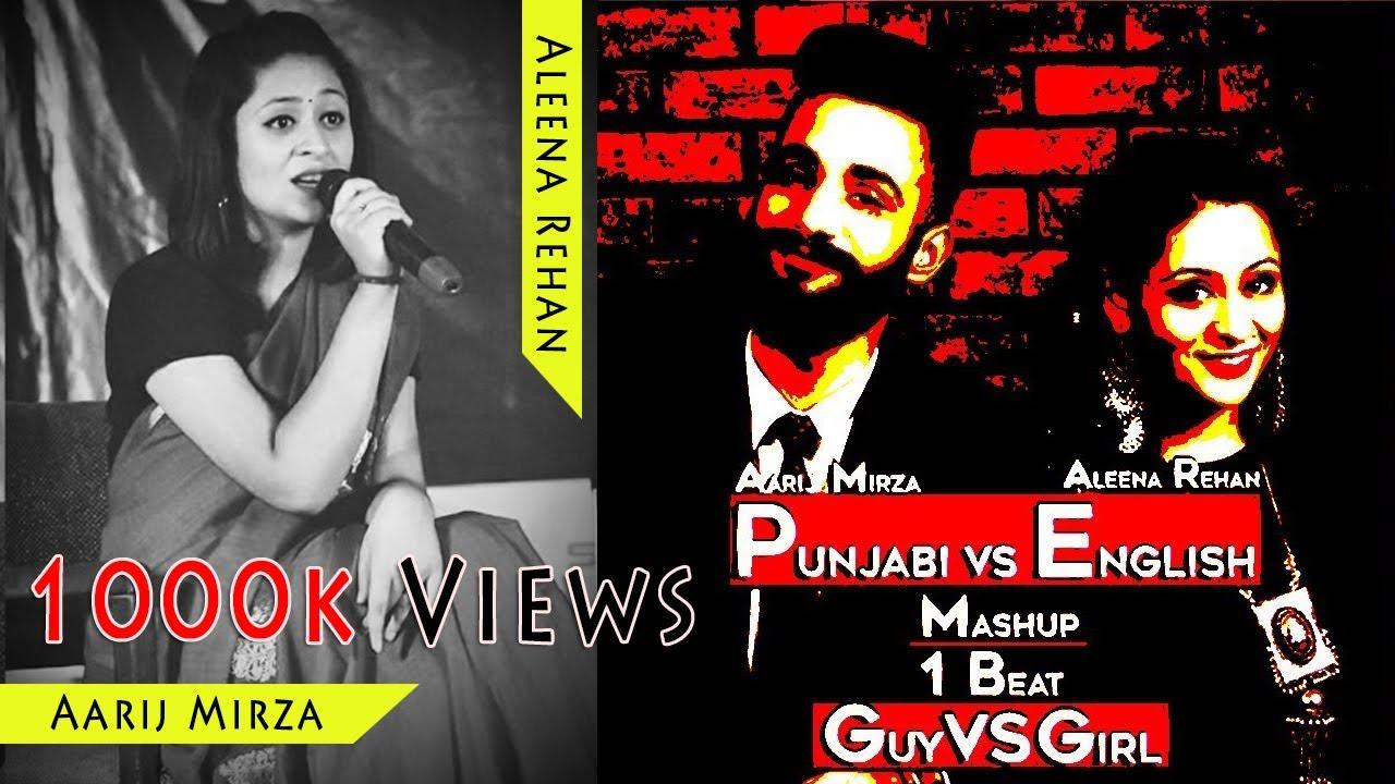 Punjabi vs English | Guy vs Girl | Mashup - 1 beat | Aarij Mirza - Aleena Rehan | Top5 Songs Jukebox