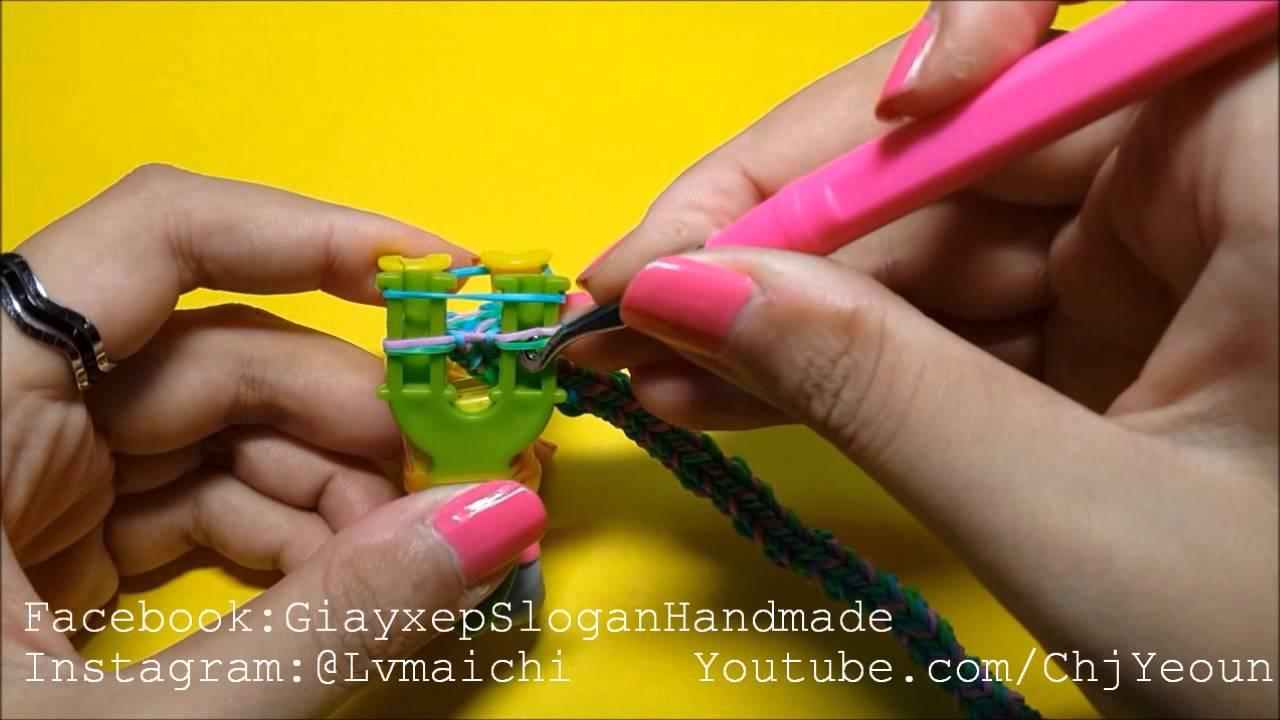 Vòng Thun Cầu Vồng QUADFISH 4 Ghim ĐUÔI CÁ. Rainbow Loom QUADFISH 4 PIN FISHTAIL Bracelet
