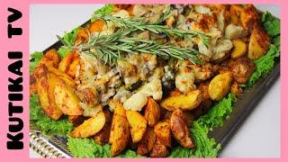 Гарниры для мясных блюд. Картофель по деревенски, цветная капуста, брокколи, грибы в соусе Бешамель.