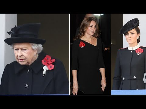 Why do Queen Elizabeth and Duchess Kate wear multiple poppies on Remembrance Day?